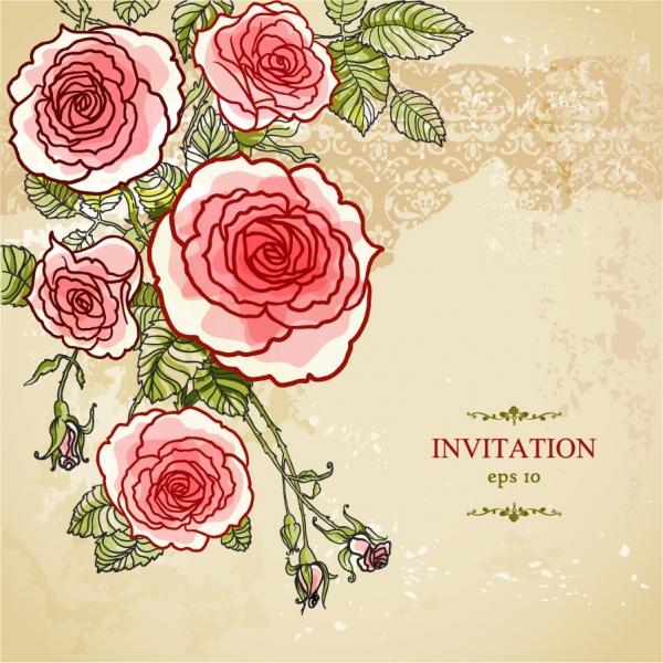 手書きの花ビラが美しい背景 Hand-painted flowers floral background