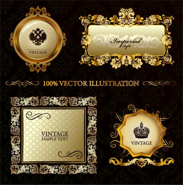 豪華な金色レース飾りのラベル デザイン gorgeous border european classical pattern 1