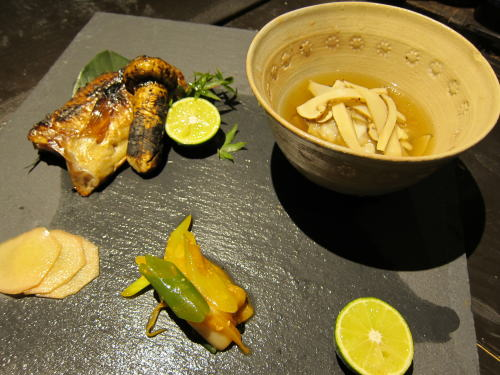 くじの若狭焼き・鱧と松茸の吸い物
