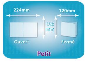 Dépliants / Plaquettes ouvert 240x120mm - fermé 120x120mm carré plié 1 pli type de pliage