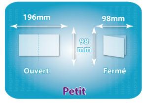 Dépliants / Plaquettes ouvert 196x98mm - fermé 98x98mm carré plié 1 pli type de pliage
