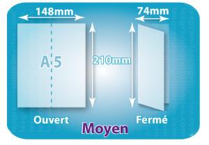 Dépliants / Plaquettes ouvert A5 148x210mm - fermé 74x210mm plié 1 pli type de pliage