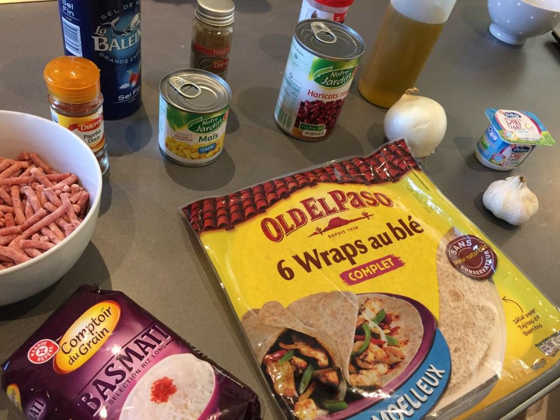 ingrédients burritos