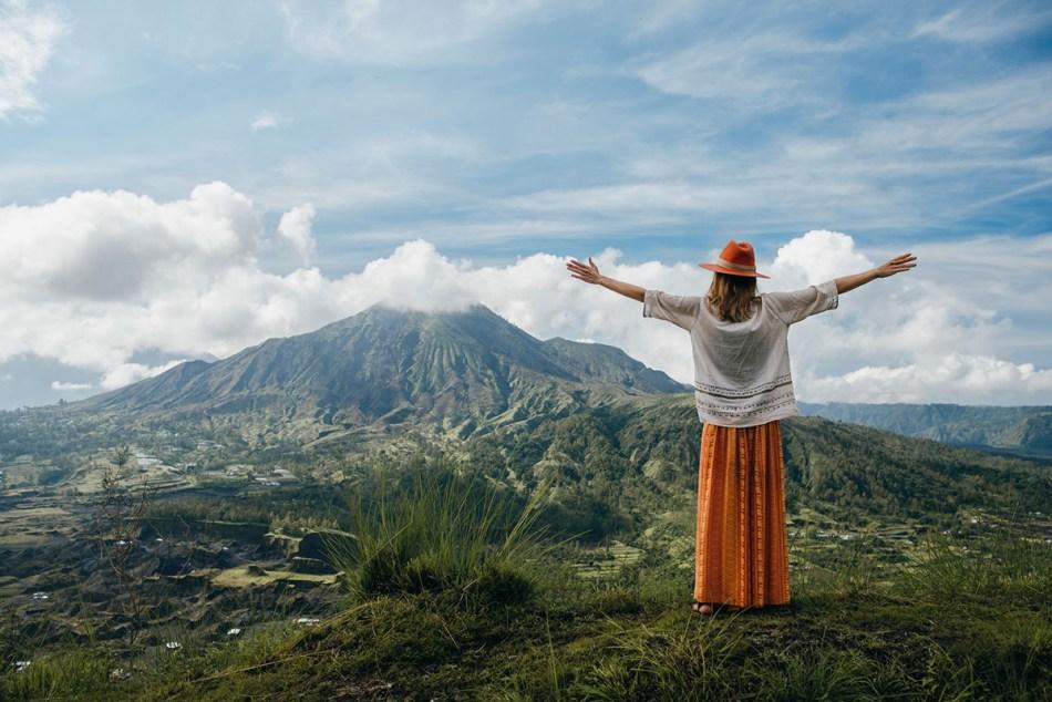 Tourist Woman At Volcano Mountain