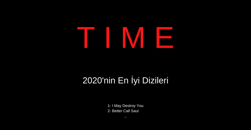 2020'nin En İyi Dizileri TIME Tarafından Yayınlandı