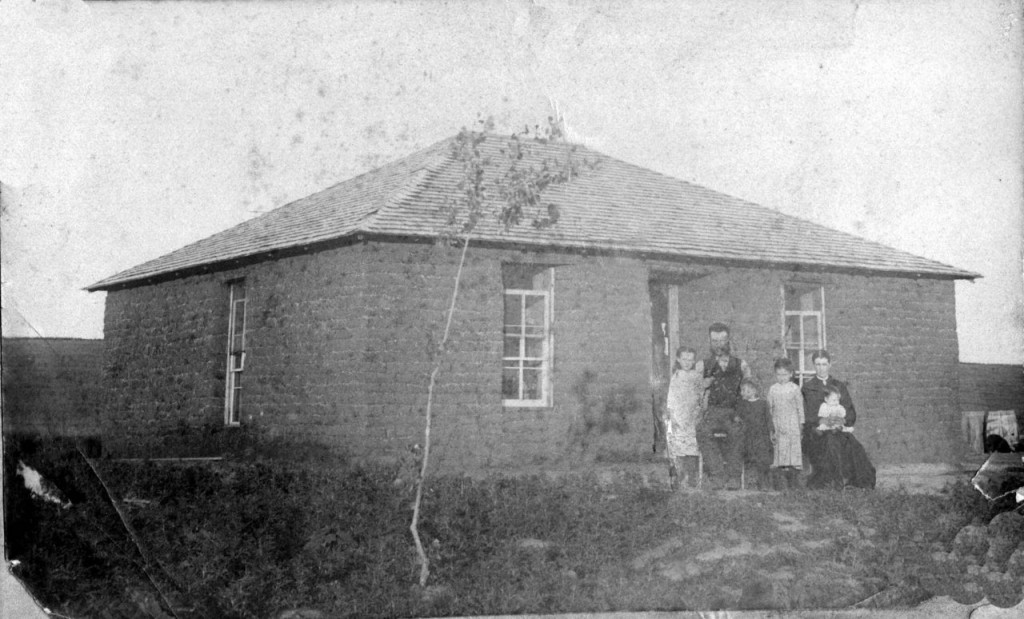 l-r Matha Anne (Annie) B: 1881 (Kansas), Benjamin Lewis B: 1856 Wales), Mary Theodocia B: 1883 (K), Margaret (Benyon) B:1857 (Wales) & Sarah Jane B:1887. Picture taken at the family home in Elk Creek, Custer County NE ~1888.