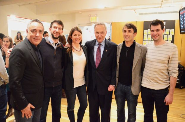 Andrew Rasiej, Brad Hargreaves, Julie Samuels, Senator Chuck Schumer, Jake Schwartz, and Derek Parham at General Assembly