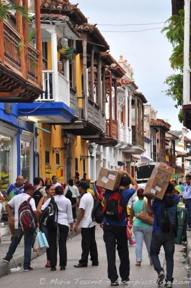 Balcons à Carthagène. Colombie