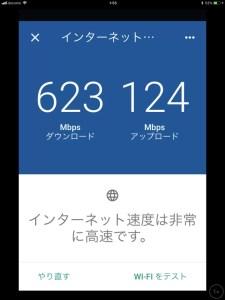 googleWi-Fiアプリでのスピードチェックのスクリーンショット