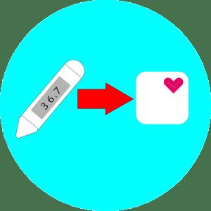 体温計の表示体温をヘルスケアアプリに入れると言う意味の画像