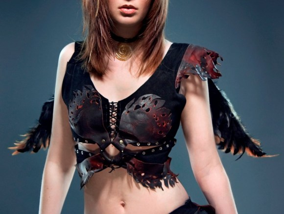 "Inspired by the Wild Hunt of Celtic mythology, this top was custom made for Morgan's client. The piece was made from premium black suede and black-and-red deerskin and features the characteristic ""Ragged Edge"" look of Morgan's work. Ragged Edge Leatherworks at CustomMade.com"