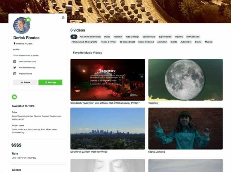 nouveau profil vimeo