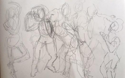 dessin, croquis, poses rapides, plusieurs poses sur la même feuille,