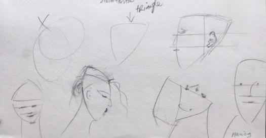 Forme simplifié de la tête en trois lignes, forme simple triangle, crayon, croquis, pratique, début de ma pratique, Marie Gauthier