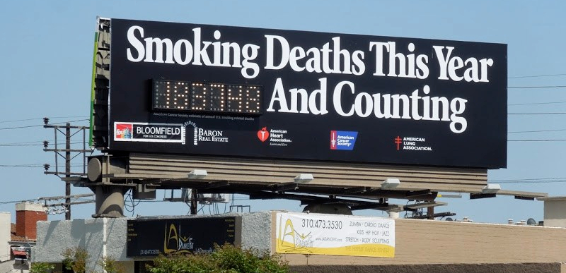 The Smoking Deaths billboard in Los Angeles