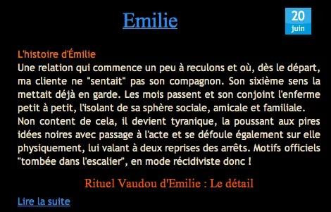 Nathaniel Sorcier Vaudou avis question forum Témoignage d'Emilie
