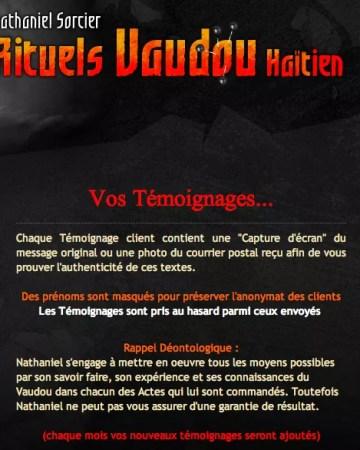 Témoignage Avis Nathaniel Sorcier Vaudou