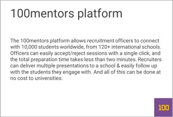 We Wanted To Create A Slide With The Benefits Student Recruitment Officers School Managers Enjoy From 100mentors But Those Are 2 Messages And Thus