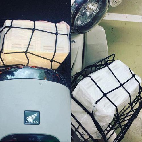 カブの前カゴに100円ショップの小物入れ、似合う。 #カブ #スーパーカブ #スーパーカブ110 #cub #supercub #supercub110 #ホンダ #honda #バイク #motorcycle #前カゴ