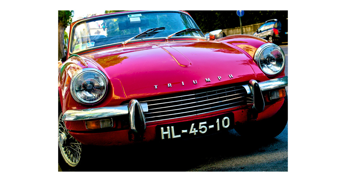 Best Car Names of All Time - Red Triumph Car Euro Plates