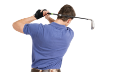 Swinging with golf wedge