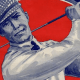 Old illustration of a man swinging a golf club and smiling