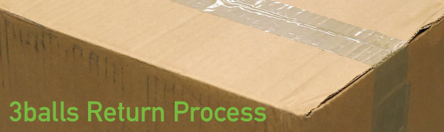 cardboard box saying 3balls return process