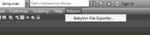 Menu Babylon dans 3dsMax