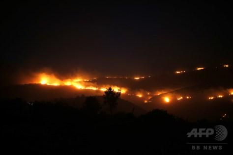 パレスチナ自治区ヨルダン川西岸との境界に近いイスラエルのナタフで発生した山火事(2016年11月25日撮影)。(c)AFP/AHMAD GHARABLI