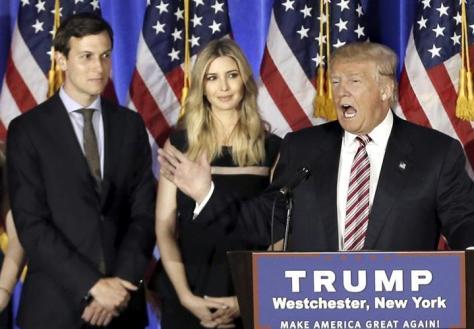 (左から)夫クシュナー氏、長女イバンカさん、トランプ氏=6月7日、ニューヨーク(ロイター)