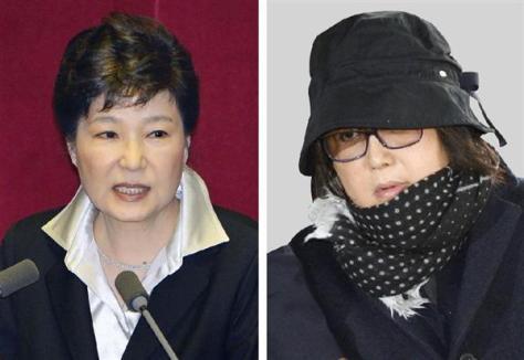 韓国の朴槿恵大統領(左)、崔順実容疑者
