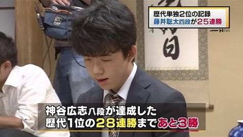 藤井聡太四段が25連勝、歴代単独2位の記録