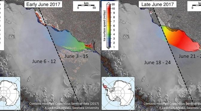 南極半島のラーセンC棚氷からの氷山の分離過程について解説した図。スウォンジー大学提供(2017年7月12日提供)。(c)AFP/SWANSEA UNIVERSITY/ADRIAN LUCKMAN