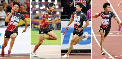 男子400メートルリレー決勝 力走する(左から)1走の多田、2走の飯塚、3走の桐生、アンカーの藤光=ロンドン(共同)