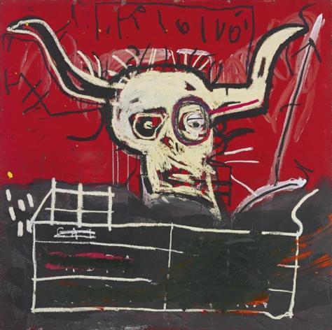 競売に掛けられるバスキアの絵画「カブラ」(サザビーズ提供・AP)