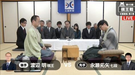 渡辺棋王が防衛に王手か、永瀬七段がタイに戻すか/将棋・棋王戦五番勝負第2局