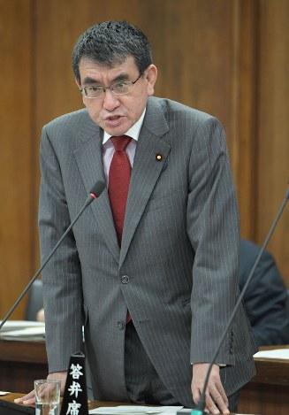 衆院外務委員会で答弁する河野太郎外相=国会内で2018年11月14日、川田雅浩撮影