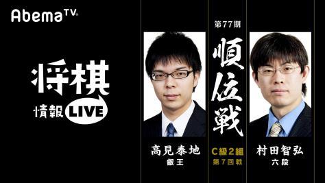 第77期順位戦C級2組第7回戦高見泰地叡王 対 村田智弘六段