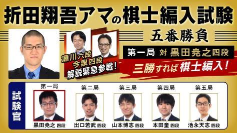 夢のプロ棋士デビューなるか!?折田翔吾アマの五番勝負 第一局 対 黒田四段