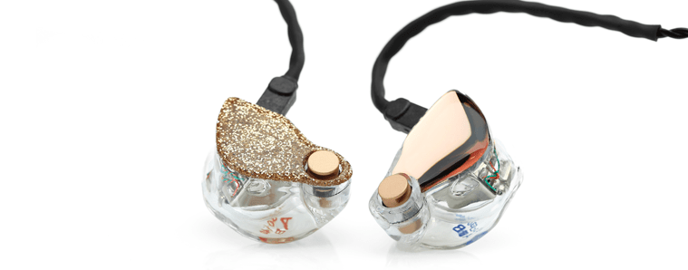 in-ear monitors with rose gold and glitter faceplates