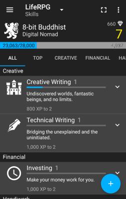 LifeRPG skill screen