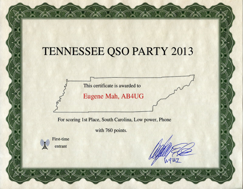 TN QSO Party 2013 award