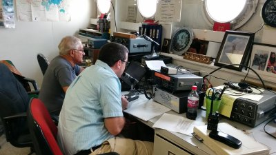 Operating in the WA4USN club room on the USS Yorktown
