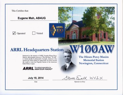 W100AW operating certificate