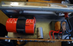 Top part of the Voltohmyst. Badly corroded 1.5V D cell and transformer