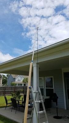 2m quarter wave ground plane antenna mounted on a makeshift mast.
