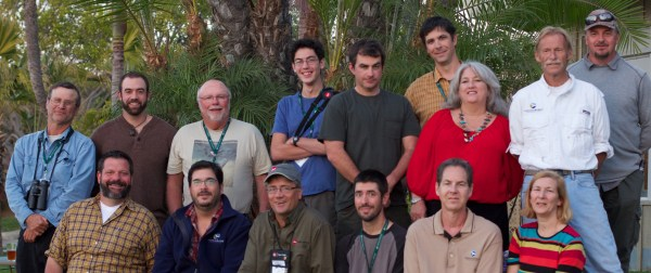 San Diego Rally Staff: (front row, left to right): Jeff Gordon, George Armistead, Jeff Bouton (Leica Sport Optics), Nate Swick, Tyler Bell, and Jane Kostenko; (back row) Paul Lehman, Forrest Rowland (Rockjumper Worldwide Birding Adventures), Jon Dunn, Ben Thesing, John Puschock, Ben Lizdas (Eagle Optics), Liz Gordon, Bill Stewart and Gary Nunn.