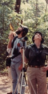 Ted on tour with the great birder Phoebe Snetsinger at La Selva, Costa Rica, 1983 (photo by Mary Beth Stowe)
