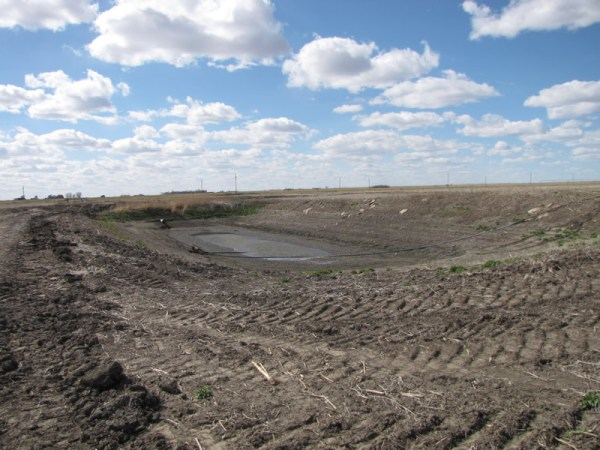 """Before"" picture of an irrigation pit in the Rainwater Basin of Nebraska."