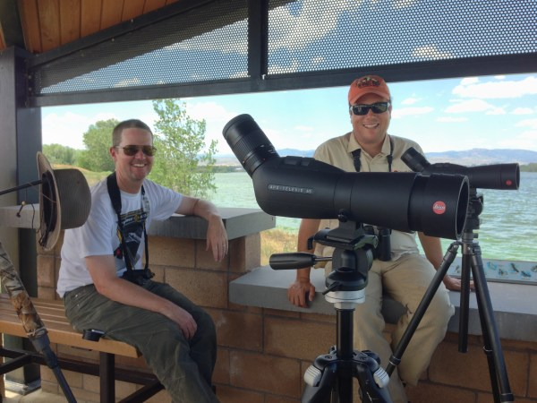 Bill Schmoker and David La Puma scouting at Fossil Creek Reservoir. (Photo by Jennie Duberstein)